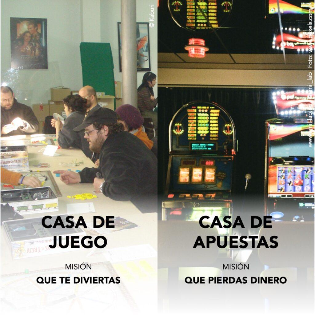 Apostar no es jugar. Las casas de juego son aquellas a las que vas a divertirte. Si el propósito es ganar (cualquier tipo de bienes), es una casa de apuestas.
