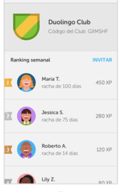 Ejemplo de ranking. Imagen recuperada de https://es.duolingo.com/